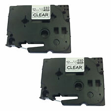 2 x Brother Compatible TZ131 P-Touch 12mm Black/Clear Label Tape