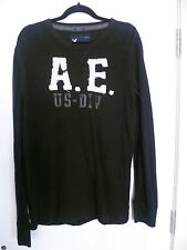 AMERICAN EAGLE OUTFITTERS SIZE L MENS BLACK COTTON LONG SLEEVE TOP VINTAGE FIT