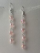 1 Pair of Crystal Glass Bead Earrings Very Pretty Sparkling Pink