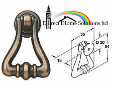 2 X HAFELE ANTIQUE STYLE BRASS DROP HANDLE FURNITURE DRAW DOOR KNOBS INC SCREW