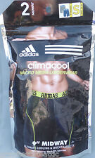 "Adidas 2 Pk Climacool Micro Mesh Underwear 9"" Midway Boxer Brief S Blue & Gray"