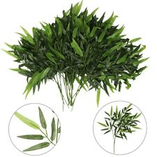 2Pcs Artificial Plastic Green 40 Bamboo Leaves In Total Home Bonsai Plant Decor