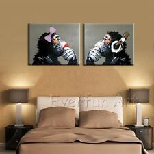 Handmade Modern Oil Painting Canvas Abstract Wall Art Framed Gorilla Thinking