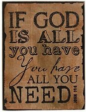 Primitive French Country GOD IS ALL YOU NEED News Print Block Plaque Sign