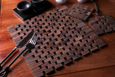 8 Piece Set NATURALS Slatted Dark Wood 4 PLACEMATS & 4 COASTERS Creative Tops