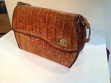 Vintage 1960's 70's Real Crocodile  Skin  Leather Handbag Made in Calcutta