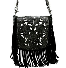 Montana West® 100% Genuine Leather, Tooled Floral Crossbody Pouch - Black