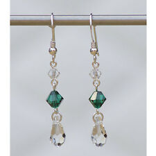 Sterling Silver Drop Earrings with Emerald Green Swarovski Elements Crystals