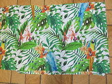Parrot parrots tropical leaves green blue orange remnant fabric piece 70x45cm