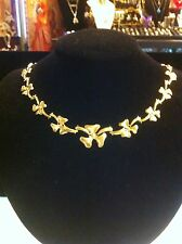 14K Yellow Gold Hinged Stampato Necklace, Unique! Almost Lily Pad Design;)