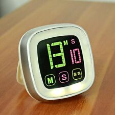 Touchscreen Digital Kitchen Cooking Timer Alarm Clock Count Down/Up with backlit