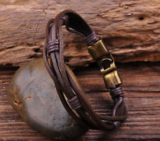 G27 New Surfer Hemp Leather Hand Braided Men's Wristband Bracelet Cuff Brown B