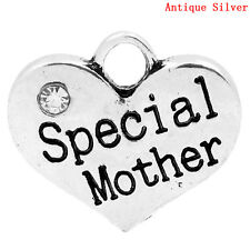 5 ANTIQUE SILVER SPECIAL MOTHER HEART CHARMS ~ PENDANT~EMBELLISHMENTS (45)UK