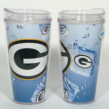 NEW GREEN BAY PACKERS ICE CUBE DESIGN 16oz TRAVEL TUMBLER