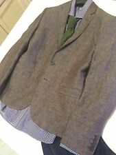 H&M Mens Sport Coat Jacket Blazer GRAY LINEN 40R Modern SLIM Fit 2 BUTTON