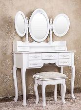 White Dressing Table Victorian Vintage Three Makeup Vanity Mirrors & Stool