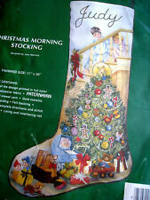 Needle Treasures Crewel Stitchery Holiday Stocking KIT,CHRISTMAS MORNING,00843