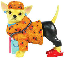New AYE CHIHUAHUA Dog Figure Figurine LADY LEOPARD Puppy Statue SHOPPING GIRL