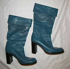 CHANEL teal blue fold over buttery soft high heel tall CC LOGO pull on boots 38
