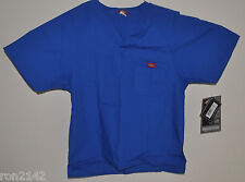 NEW Small Dickies Work Clothes Men's Royal Blue Poly Blend Scrub Top 16106 #s57
