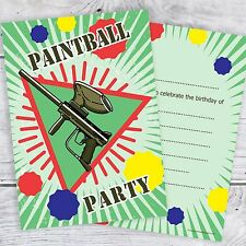 Paintball Birthday Invitations - Kids Party Invites - A6 Postcards (Pack 10)