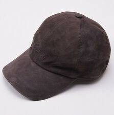 NWT $695 BRIONI Brown Calf Suede Leather Baseball Hat Cap Embroidered Logo
