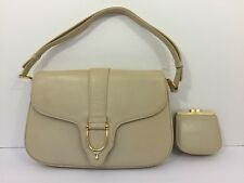 Vintage Gucci Genuine Leather Cream Ivory Gold Shoulder Purse with Coin Purse
