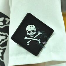 1 X Black Square Skull Crossbone 3D PVC Rubber Velcro Patch Military Magic Badge