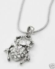 Pave Crystals Delicate Spider Silver -tone Chain Pendant Necklace Halloween New