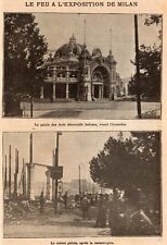MILAN MILANO FEU A EXPOSITION FIRE AT THE EXIBITION ITALIA IMAGE 1906 PRINT