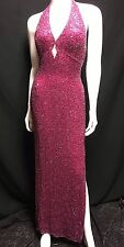 Vintage Scala Pink Silk Beaded Sequin Halter Formal Evening Dress Sz M Prom Gown