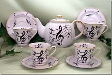 Music Note Porcelain Tea Set:: Tea Pot and 4 Cups and Saucers MADE IN USA