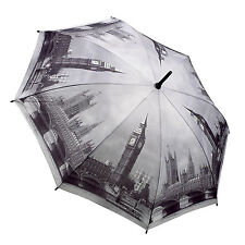 "Soake - Galleria Black & White "" London "" Automatic Folding Umbrella in Gift Box"