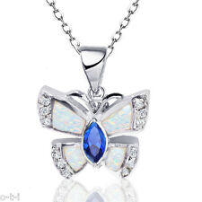 Butterfly Oval Blue Sapphire w Clear CZ White Fire Opal Sterling Silver Necklace