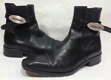~ VERSACE VERSUS ~ Womens Size 9 BLACK LEATHER Ankle BOOTS ~ Gianni Versace