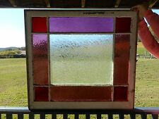 """Antique Stained Glass Window Vintage Large 36"""" x 32-5/8"""" Wood Framed Sash"""