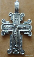 russian made  silver  plated  cross  Pendant  Christ large both sides  #3