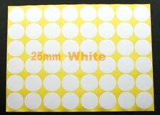 "WHITE Sticker Circle Labels Round 25mm 2.5cm 1"" inch dot O mark pack shipping"