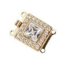 23K Gold Plated 2-Strand Box Clasp - Square With 21 SWAROVSKI ELEMENTS 14x14mm