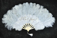 "Light Grey Marabou Ostrich Feather fan primary Burlesque Dance 21""x38"" gift box"
