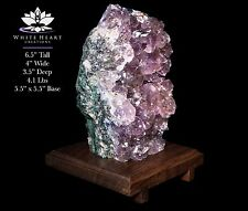 "6.5"" Amethyst Geode Cluster Crystal Lamp With Black Walnut Wooden Base #AL-417-1"