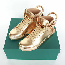 BUSCEMI metallic gold 100MM shoes hi top buckle strap lock sneakers 10-US/43 NEW