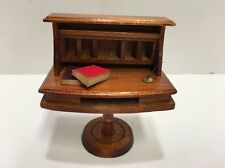 Vintage Doll house Wood Pedestal Desk w/Feather Pen & Books