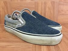 RARE�� VANS Loomstate Washed Denim Size 7 Classic Slip On Sneakers Blue Jeans LE