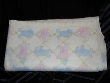 VINTAGE BABY BLANKET FLEECE PASTEL PINK BLUE BUNNY RABBIT BLOCK NYLON TRIM