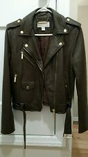 Michael Kors Leather Olive Green Duffel Brown Moto Jacket Medium NWOT
