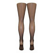 Black Seamed Fishnet Tights (XL).  N/S