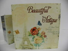 Storage organizer tin boxes Paris collectible decorative home deco square