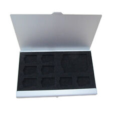 Aluminum&EVA 8x TF 4x SD Memory Card Storage Box Case Holder Protector Silber