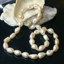 GENUINE WHITE CREAM FRESHWATER KEISHI PEARL 14k GOLD NECKLACE 16.5""